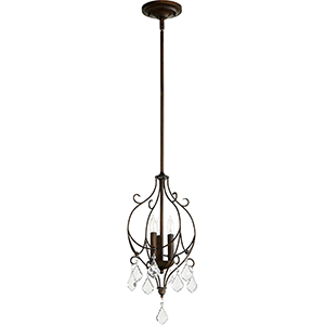Ariel Vintage Copper Three-Light 10.25-Inch Mini Chandelier