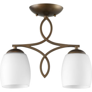 Willingham Oiled Bronze with Satin Opal Glass Two-Light Semi-Flush Mount