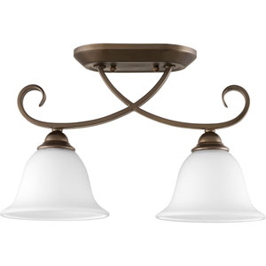 Celesta Oiled Bronze with Satin Opal Glass Two-Light Semi-Flush Mount