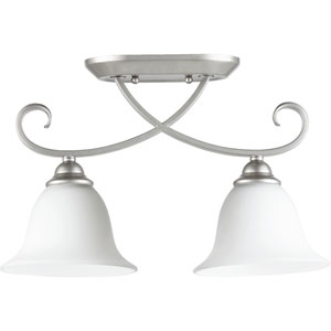 Celesta Classic Nickel Two Light Sink Light Ceiling Mount with Satin Opal Glass