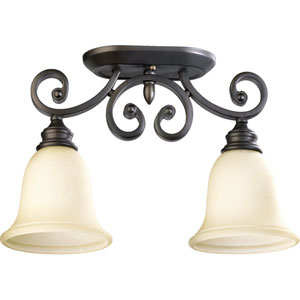 Bryant Two-Light Oiled Bronze with Antique Gold Semi-Flush