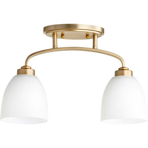 Reyes Aged Brass Two-Light 5-Inch Flush Mount