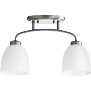 Reyes Classic Nickel Two Light Sink Light Ceiling Mount with Satin Opal Glass
