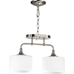 Rockwood Satin Nickel Two-Light Semi Flush Mount with Satin Opal Glass