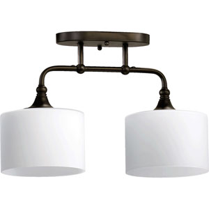 Rockwood Oiled Bronze Two-Light Semi Flush Mount with Satin Opal Glass