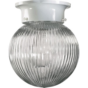 Ball One-Light White Flush Mount
