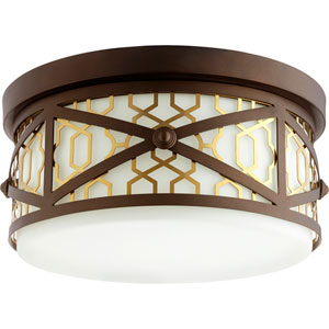 Renzo Aged Brass with Oiled Bronze Three-Light 12-Inch Flush Mount