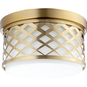 Aged Brass Two-Light 12-Inch Flush Mount