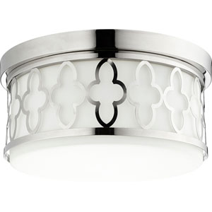 Polished Nickel Three-Light 14-Inch Flush Mount