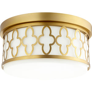 Aged Brass Three-Light 14-Inch Flush Mount