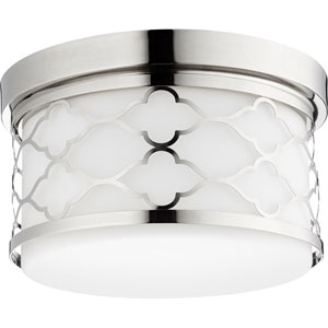 Polished Nickel Two-Light 12-Inch Flush Mount