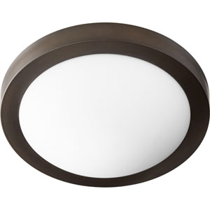 Oiled Bronze with Satin Opal Glass Two-Light Flush Mount