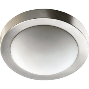 Two-Light Satin Nickel Flush Mount