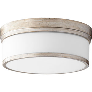 Celeste Aged Silver Leaf Three-Light 14-Inch Flush Mount