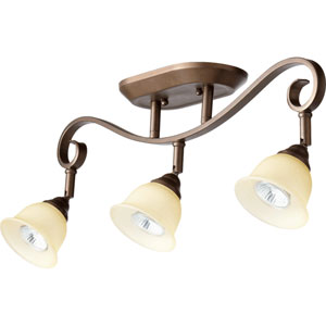 Celesta Oiled Bronze Three Light Rail Light Ceiling Mount with Amber Scavo Glass