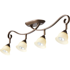 Celesta Oiled Bronze Four Light Rail Light Ceiling Mount with Amber Scavo Glass