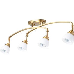 Reyes Aged Brass Four-Light 5-Inch Flush Mount