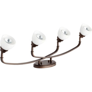 Reyes Oiled Bronze Four Light Rail Light Ceiling Mount with Satin Opal Glass