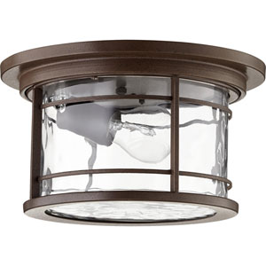 Larson Oiled Bronze with Clear Hammered Glass One-Light Outdoor Flush Mount