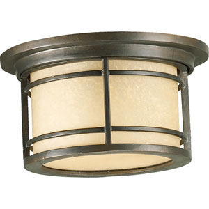 Larson One-Light Oiled Bronze with Antique Gold Outdoor Flush Mount