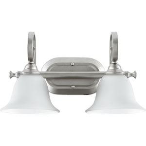 Celesta Classic Nickel Two Light Vanity Fixture with Satin Opal Glass