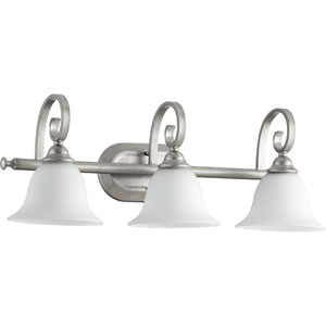 Celesta Classic Nickel Three Light Bath Vanity Fixture with Satin Opal Glass