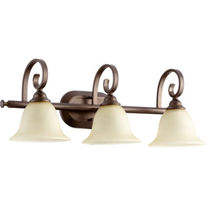 Celesta Oiled Bronze Three Light Bath Vanity Fixture with Amber Scavo Glass