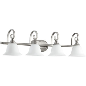 Celesta Classic Nickel Four Light Vanity Fixture with Satin Opal Glass