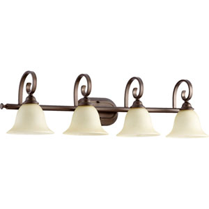 Celesta Oiled Bronze Four Light Vanity Fixture with Amber Scavo Glass