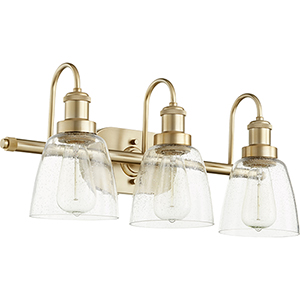 Aged Brass Three-Light 22.5-Inch Bath Vanity