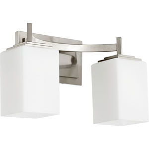 Delta Satin Nickel Two-Light Bath Fixture with Satin Opal Glass