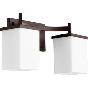 Delta Oiled Bronze Two-Light Bath Fixture with Satin Opal Glass