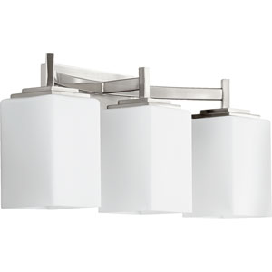 Delta Satin Nickel Three-Light Bath Fixture with Satin Opal Glass