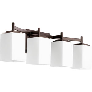 Delta Oiled Bronze Four-Light Bath Fixture with Satin Opal Glass