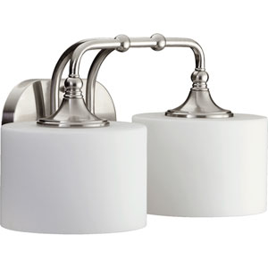 Rockwood Satin Nickel Two-Light Bath Fixture with Satin Opal Glass
