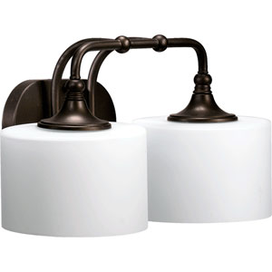 Rockwood Oiled Bronze Two-Light Bath Fixture with Satin Opal Glass