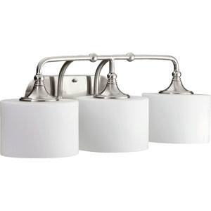Rockwood Satin Nickel Three-Light Bath Fixture with Satin Opal Glass