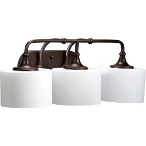 Rockwood Oiled Bronze Three-Light Bath Fixture with Satin Opal Glass