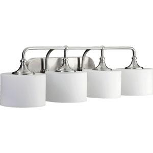 Rockwood Satin Nickel Four-Light Bath Fixture with Satin Opal Glass