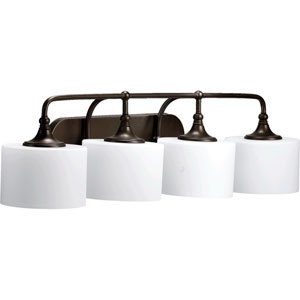 Rockwood Oiled Bronze Four-Light Bath Fixture with Satin Opal Glass