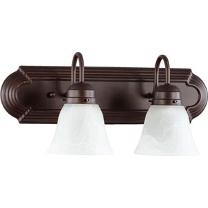 Oiled Bronze 18-Inch Two-Light Vanity with Faux Alabaster Glass