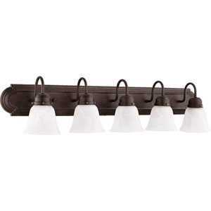 Toasted Sienna Five-Light Bath Fixture with Faux Alabaster Glass