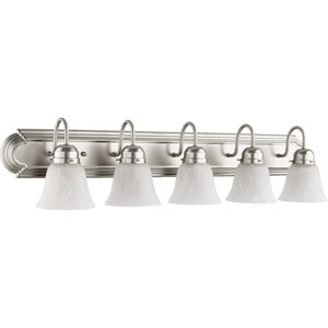 Satin Nickel 8-Inch Five Light Vanity Fixture with White Glass
