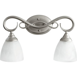 Powell Classic Nickel Two Light Vanity Fixture with Faux Alabaster Glass