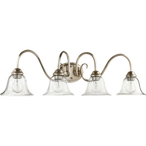 Spencer Aged Silver Leaf with Clear Seeded Glass Four-Light Bath Vanity