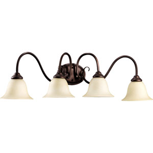 Spencer Oiled Bronze Four-Light Bath Fixture with Amber Scavo Glass