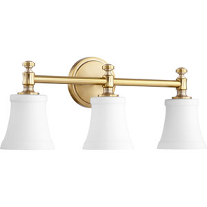 Rossington Aged Brass with Satin Opal Three-Light 22-Inch Vanity