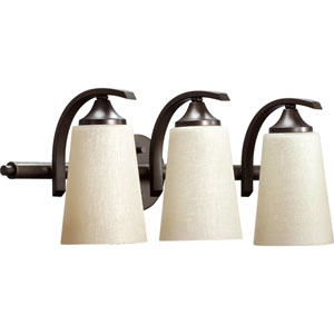 Winslet Ii Oiled Bronze Three Light Bath Vanity Fixture with Linen Glass