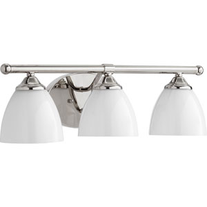 Brooks Polished Nickel with Opal Three-Light 21-Inch Vanity