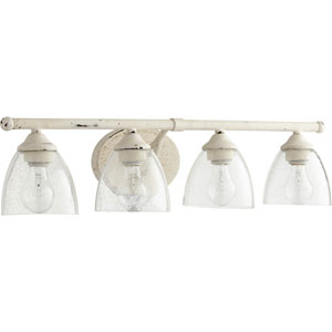 Brooks Persian White with Clear Seeded Glass Four-Light Bath Vanity